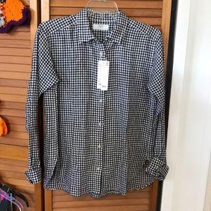 Uniqlo Premium Linen Checkered Long Sleeve Shirt
